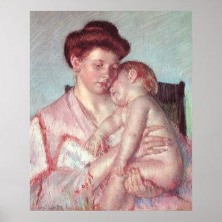 Vintager Impressionismus, schläfriges Baby durch Poster