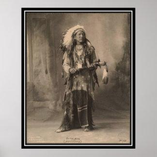 Vintager Inder: Schwarzer Mann, Arapahoes - Poster