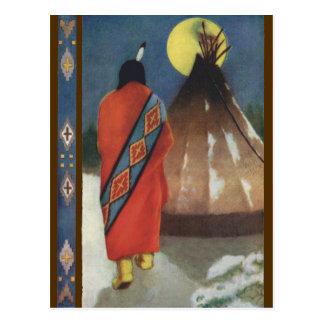 Vintager Inder und Teepee Postkarte