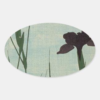 Vintager Iris-Garten Ukiyo-e japanische Malerei Sticker
