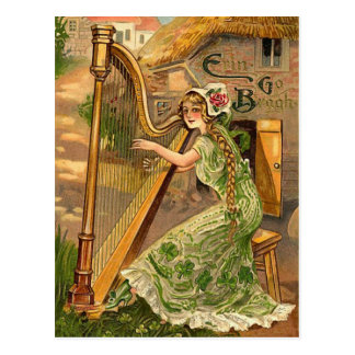 Vintager irischen Harfen-St Patrick Tag Postkarte