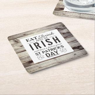 Vintager irischen hölzernen St Patrick Tag Rechteckiger Pappuntersetzer