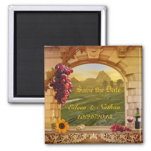 Vintager italienischer Weinberg-Fall-Save the Date Magnets