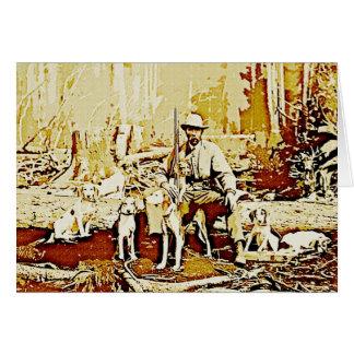 Vintager Jäger mit Hundeanmerkungs-Karte Mitteilungskarte