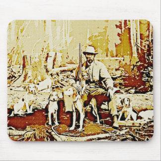 Vintager Jäger mit Hundemausunterlage Mousepad
