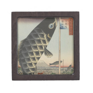 Vintager Japaner Koi hölzerne Druck-Kunstmalerei Kiste
