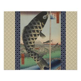 Vintager Japaner Koi hölzerne Druck-Kunstmalerei Poster