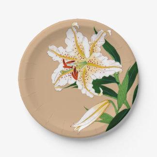 Vintager Japaner Liliy. Weiß, Grün und Beige Pappteller