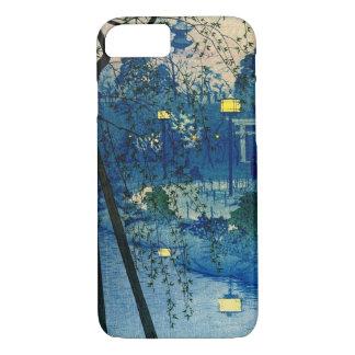 Vintager japanischer Abend im Blau iPhone 8/7 Hülle