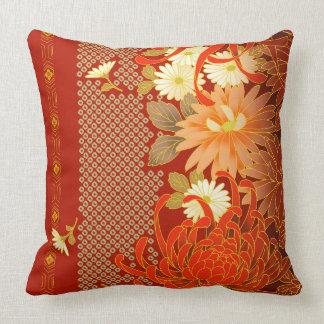 Vintager japanischer Blumenentwurf Kissen