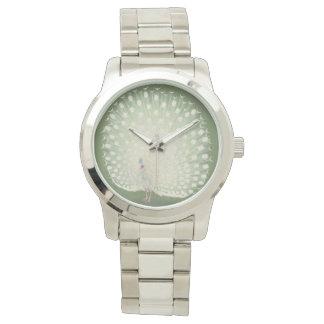 Vintager japanischer feiner weißer Pfau der Uhr