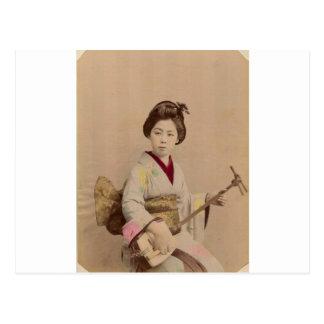 Vintager japanischer Geisha, der Shamisen spielt Postkarte