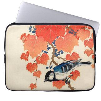Vintager japanischer Jay-Vogel und Laptop Sleeve