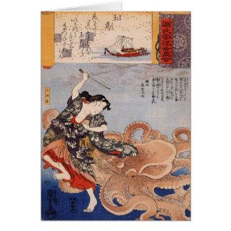 Vintager japanischer Krieger und Krake Karte