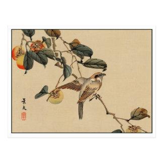 Vintager japanischer Kunst-Vogel im Baum Postkarte