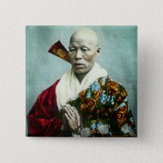 Vintager japanischer Shinto-Priester, der altes Quadratischer Button 5,1 Cm