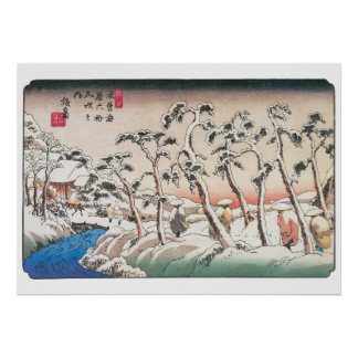 Vintager japanischer Winter - Hiroshige Drucke