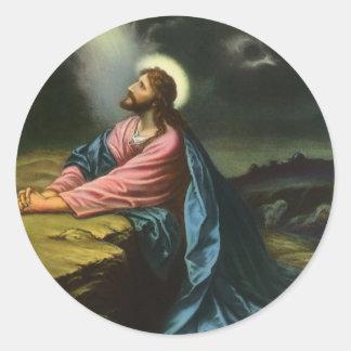 Vintager Jesus Christus, der in Gethsemane betet Runder Aufkleber