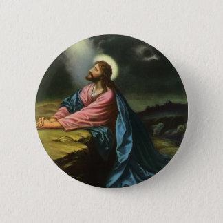 Vintager Jesus Christus, der in Gethsemane betet Runder Button 5,7 Cm