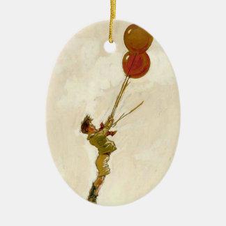 Vintager Junge mit roten Ballonen an einem Ovales Keramik Ornament
