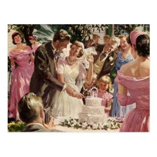 Vintager Jungvermählten-Kuchen-Ausschnitt, Postkarte