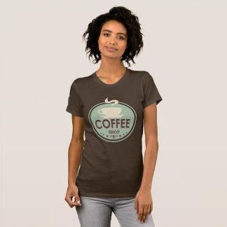 Vintager Kaffeegeschäfts-Wortkunst-T - Shirt