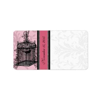 Vintager Käfig-rosa u. schwarze Damast-Punkte Adressaufkleber
