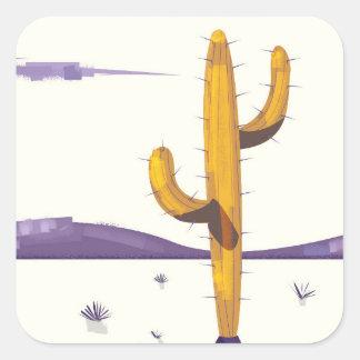 Vintager Kaktus in der Wüste Quadratischer Aufkleber