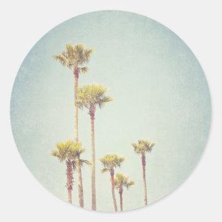 Vintager Kalifornien-Palme-Aufkleber Runder Aufkleber