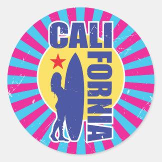 Vintager Kaliforniensurfer-Sonnendurchbruch Runder Aufkleber