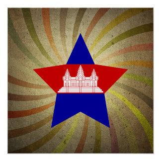 Vintager kambodschanischer Flaggen-Strudel Poster