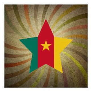 Vintager kamerunischer Flaggen-Strudel Poster