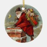 Vintager Kamin Weihnachtsweihnachtsmanns unten Weihnachtsbaum Ornament