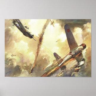 Vintager Kämpfer-Flugzeug-handgemenge-Kunst-Druck Poster