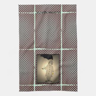Vintager Karo-Beagle im Regen Handtuch