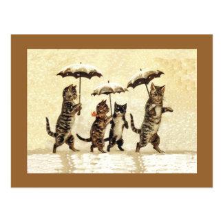Vintager Katzen-Regenschirm-Schnee Postkarte