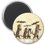 Vintager Katzen-Regenschirm-Schnee Runder Magnet 5,1 Cm