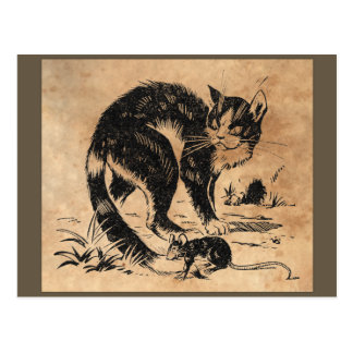 Vintager Katzen-und Ratten-Druck Postkarte
