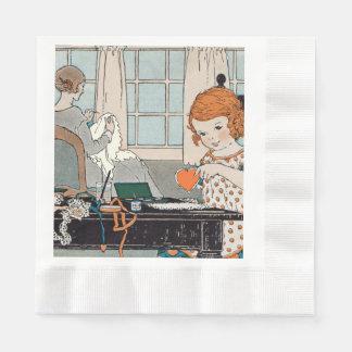 Vintager KindermädchenValentine für Mutter Servietten