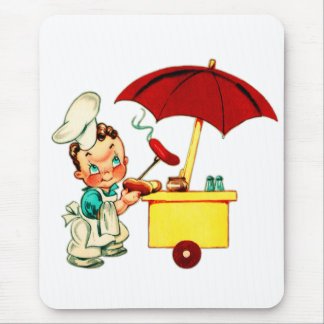 Vintager Kitsch-Hotdog-Hotdog-Wagen-Mann Mauspads