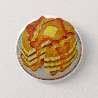 Vintager Kitsch-Stapel Pfannkuchen und Speck Runder Button 5,7 Cm
