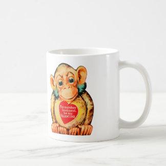 Vintager Kitschvalentine-Affe-Affe Gorillia Kaffeetasse