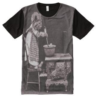 Vintager Kitty, der auf Ofen kocht T-Shirt Mit Bedruckbarer Vorderseite