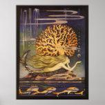 Vintager kleiner Meerjungfrau-Ozean-korallenrote f Plakatdrucke
