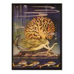 Vintager kleiner Meerjungfrau-Ozean-korallenrote Postkarte