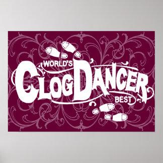 Vintager Klotz-Tänzer-verstopfenweiß Poster