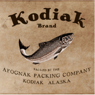 Vintager Kodiak-Lachs-Aufkleber (Fische) Fotoskulptur Magnet