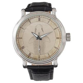 Vintager koi Karpfen, der alte Papierrollekunst Armbanduhr