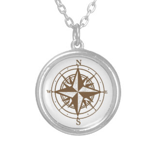 Vintager Kompass Halskette Mit Rundem Anhänger
