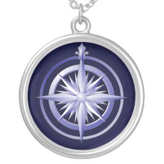 Vintager Kompass Silber-Überzogenes Halsketten-Bla